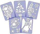 Set mit 5 wiederverwendbaren Kunststoff-Malvorlagen für Kunstschnee // A4-Format // Weihnachtsschablonen // Weihnachtsfensterdekoration // Weihnachtsvorlagen [set #2]