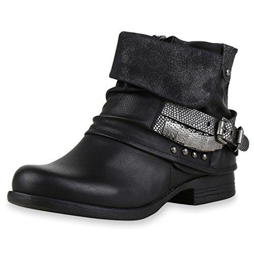 SCARPE VITA Gefütterte Damen Biker Boots Nieten Schnallen Stiefeletten 164092 Schwarz Nieten 38