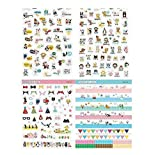 Hosaire Stickers Kawaii Animaux Paradis Autocollant Stickers Adhésif Cartoon DIY Décoration de Calendrier Album Scrapbooking 8 Fiches