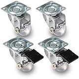 PRIOstahl ® Möbelrollen Transparent | SET | 2 Lenk , 2 Lenkrolle + Bremse | Transportrollen Ø 35