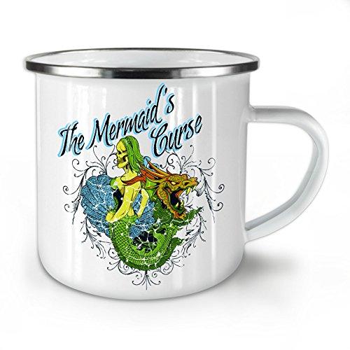 Wellcoda Meerjungfrau Zombie Grusel Emaille-Becher, Drachen - 10 Unzen-Tasse - Kräftiger, griffiger Griff, Zweiseitiger Druck, Ideal für Camping und Outdoor (Meerjungfrau Zombie)