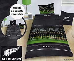 parure de lit housse de couette sport rugby all blacks team taie 140x200 cm. Black Bedroom Furniture Sets. Home Design Ideas