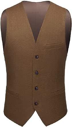 GRMO Men V-Neck Single Breasted Sleeveless Solid Color Slim Suit Vests Waistcoat