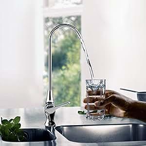 HOMITEX Rubinetto Alto Cromato Cucina Con Sistema Filtro D'Acqua, Miscelatore Girevole 360° In Ottone Monocomando