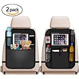 "Car Back Seat Organiser 2pcs, 2 Type Waterproof Kick Mats Car Organiser Seat Back Protectors with Multi Pockets Including 10"" iPad Tablet Holder"