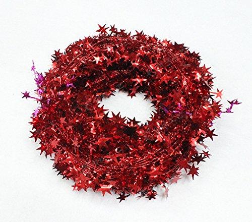 (AOYOMO Weihnachtsbaum, bunt, mit Sternen, Rattan, Weihnachtsbaum, Dekoration für Festivals, Partys, rot, One Size: Length 7.5m)