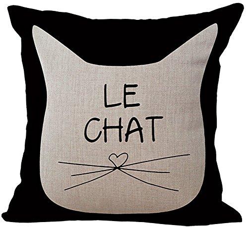 Chezmax misto lino bianco e nero gatti modello cuscino federa copricuscino in cotone 45,7x 45,7cm, White Cat 1, WITH FILLER