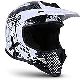 """Soxon® SKC-33 """"Fusion White"""" · Kinder-Cross-Helm · Motorrad-Helm MX Cross-Helm MTB BMX Cross-Bike · ECE Schnellverschluss SlimShell Tasche S (53-54cm)"""