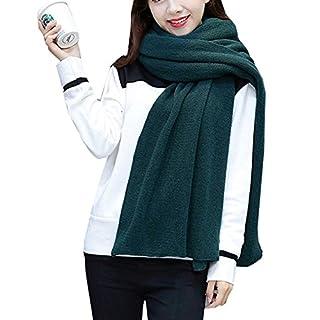Wander Agio Women's Warm Long Shawl Winter Warm Large Oversized Scarf Pure Color Dark Green