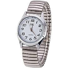 Moda Simple Relojes para Hombre Mujer - Correa de Aleación Números Arábigos Fácil de Usar Elástico