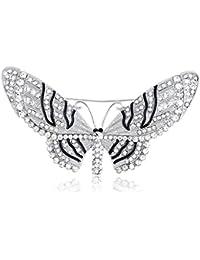 Clear Crystal Rhinestone Encrusted diseño de hada mariposa Polilla insectos diseño Pin Broche