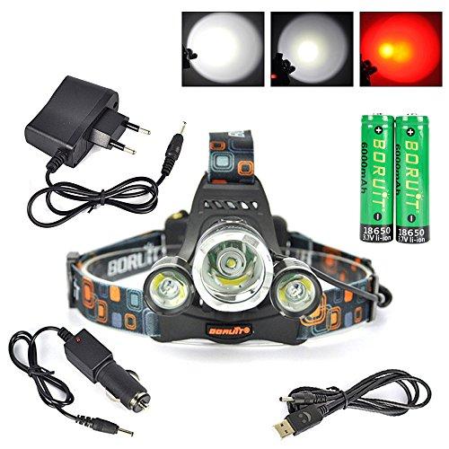 Boruit XML-T6 LED -LED Stirnlampe, LED Kopflampe mit Rotlicht für Camping, Laufen,Lesen,Fahrrad,Jagd,Angeln.mit 2*18650 Wiederaufladbare Akkus+Ladegerät+Car Charger+USB-Kabel