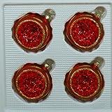 Kugeln mit Einstich rot matt mit Dekor 4 Stück d 6cm Christbaumschmuck Weihnachtsbaumschmuck mundgeblasen, handdekoriert Lauschaer Glas das Original