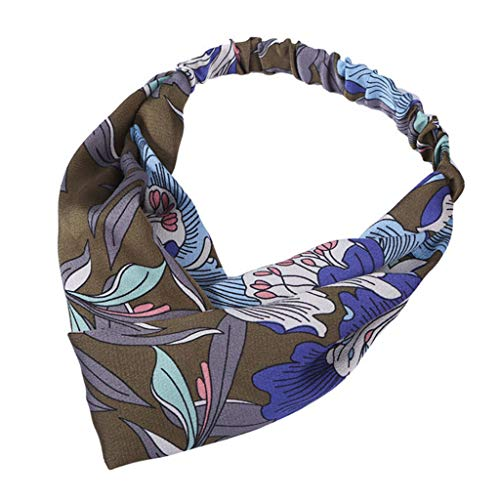 Dicomi Damen Haarband Haarschmuck Frauen Kopf Haarband Vintage Blume druckte elastische Verpackungs verdrehte nette Haar Zusätze Blau