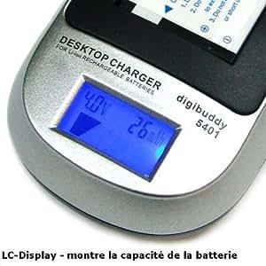 Mertrado - Le Chargeur Intelligent Li-Ion avec LC-Display - Chargeur de batterie Konica Minolta NP-900 / Avant BATS4 / Sealife SL-15134 et Adaptateur chargeur USB