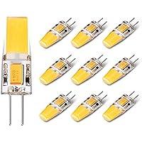 Yuiip Lampadina LED G4 AC / DC 12V COB Lampade 2.5W Equivalente a 25W Lampada Alogena Bianco Caldo (2700 K) 280 Lumen Non Dimmerabile, Confezione da 10 [Classe di efficienza energetica A++]