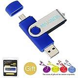 8GB/16GB/32GB/64GB Flash Drive de USB OTG (On the Go) Doble Transforma Memoria USB Stick 2.0 a Micro USB Para Smartphone Android o Tableta + 1M 2.0 USB Cable(16GB, azul)