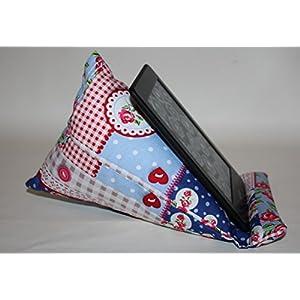 Lesekissen | Lesestütze | Sitzsack | passend für alle E-Book-Reader | Patchworkmuster blau