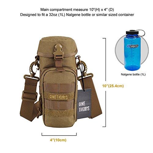 OneTigris Outdoor Trinkflasche Halter 1000D Nylon Taktische MOLLE Wasserkocher Tragbar Aufbewahrungstasche mit Schultergurt (Braun) Braun