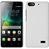 PhoneNatic Case kompatibel mit Huawei Honor 4c - Hülle weiß gummiert Hard-case + 2 Schutzfolien