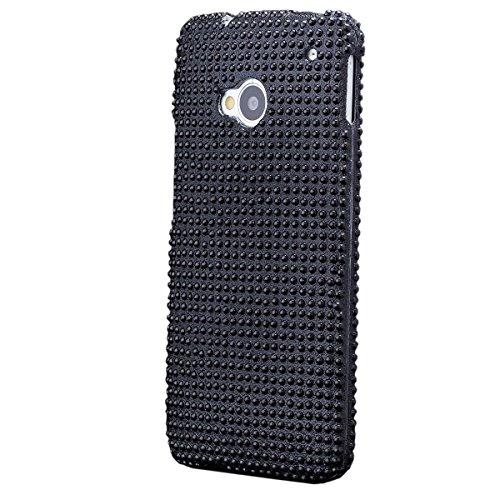 HTC One M7 | iCues 2 Part Strass Case Schwarz | [Display Schutzfolie Inklusive] Strass Glitzer Glitter Luxus Bling Damen Frauen Mädchen Schutzhülle Hülle Cover Schutz