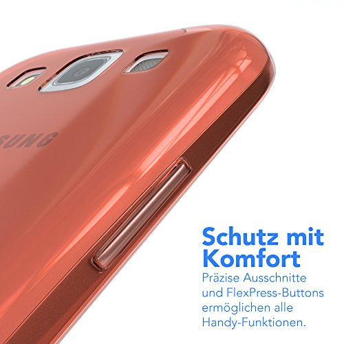 Samsung Galaxy S3 / S3 Neo Hülle - EAZY CASE Ultra Slim Cover TPU Handyhülle - dünne Schutzhülle aus Silikon in Pink Clear Orange