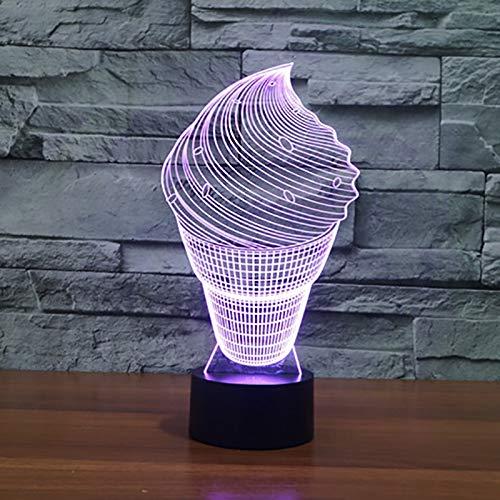 Neuheit Wohnkultur 7 Farbwechsel Eis Form Nachtlichter 3D Usb Acryl Visuelle Dessert Schreibtischlampe Led Schlaf Beleuchtung Geschenk