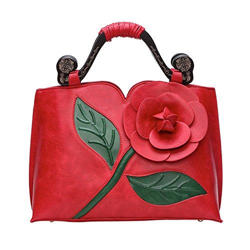 WTUS Damen Klassische Vintage Rose Dreidimensionale Große Blumen Tasche Schlug Farbe Holz Tragbare Handtaschen -Schulter-Kurier Schnitzen Beuteltote Rot