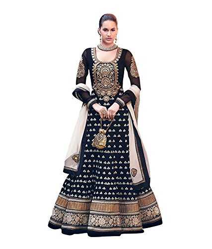 FOG Black Color Floor Length Anarkali Embroidery Semi Stitched Georgette Salwar