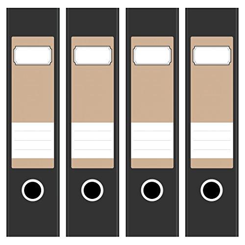 4 x farbige Akten-Ordner Etiketten / Aufkleber / Rücken Sticker / Farbe Hellbraun / Beige / für breite Ordner / selbstklebend / 6cm breit