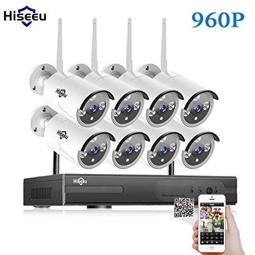 LLC - Hiseeu 8-Kanal Wireless Security Camera System NVR Video Surveillance System 960P Bullet Kamera mit Nachtsicht Bewegungserkennung 1T Backup-Festplatte für Innen-Außen Wireless-video Security System