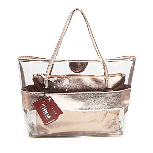 Zicac Lady Women Girl Candy Color Semi-clear Transparent Stripe Waterproof Swimming PVC Beach Cosmetic Shoulder Tote Bag with Small Handbag (Champagne)