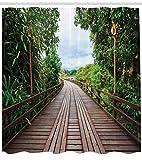 Abakuhaus Duschvorhang, Holzbrücke Zwischen Tropischen Bäumen Exotische Jungle Beruhigendes Weg Jungel Foto Druck, Blickdicht aus Stoff mit 12 Ringen Waschbar Langhaltig Hochwertig, 175 X 200 cm