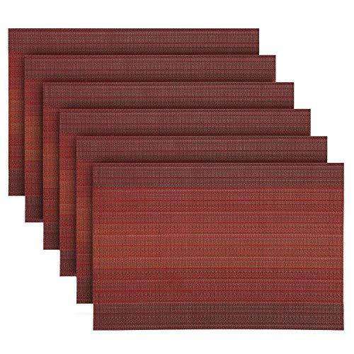 Oume set da 6 tovagliette americana plastica lavabili, vinile pvc tovagliette tavola antiscivolo antimacchia resistenti al calore tovagliette colazione