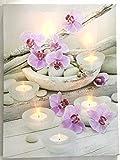 Jürgen Schleiß Konfektion LED-Bild Leinwandbild Leuchtbild Wandbild 30x40cm flackernd Wellnes Orchidee Kerze