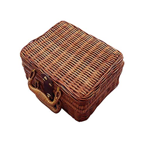 su-luoyu Wicker Picknickkorb Rattan Handmade Large Brown Wicker Basket - Wicker Retro Aufbewahrungsbox Picknickkorb Ablagekorb, 21 17 11cm - Brown Wicker