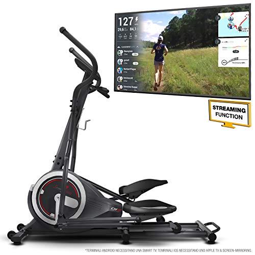 Sportstech Cyclette ellittica CX640 Compatibile con l'app Kinomap, Massa del volano 24 kg + Street...