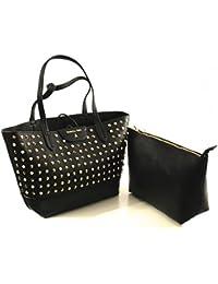 Borsa PATRIZIA PEPE shopping con borchie maxi pochette interna con manico larg. 30,5 alt. 27,5 p12,5 nero ecopelle