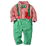 i-uend Baby Christmas 2Pcs Outfit Sets - Kid Baby Boys Gentleman Bow Weihnachten Shirt + Hosenträger Strap Pants Set Outfit für 0-3 Jahre