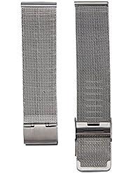 RETUROM Moda milanesa de acero inoxidable de 20 mm Correa para la muñeca banda reloj (Plata, 20mm)