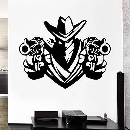 guijiumai Abnehmbare Wandtattoo Cowboy Bandit Revolver Pistolen Waffen Schal Vinyl Aufkleber Home Decor Art Vinyl Wandbild Papier weiß XL 77X110CM