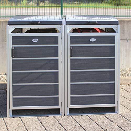 Prewood WPC Mülltonnenbox, Mülltonnenverkleidung für 2x 240l Mülltonne grau // 86x152x127 cm (LxBxH) // Gerätebox, Gartenbox & Mülltonneneinhausung - 2