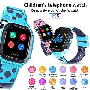 kapokilly Kinder-Smartwatch, Y95 Kinder-Smartwatch HD-Videoanruf 4G Full Netcom Mit AI Payment WiFi-Chat-Uhr Für Kinder, Pink/Blau