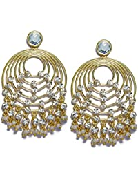 Chooseberry Gold Plated Chandbali Earrings Gold With Kundan/American Diamond And Pearl Droppings Golden Wedding...