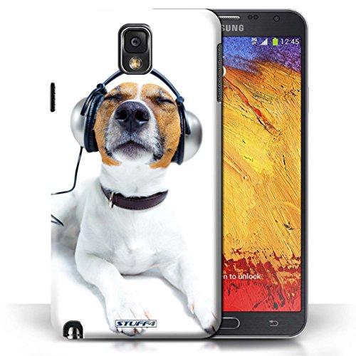 Coque en plastique pour Samsung Galaxy Note 3 Collection Animaux comiques - Chien somnolent Chien avec casque