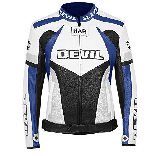 Ciabalù Motorradjacke für Herren und Motorrad, Eco-Leder, technisch, professionelle Jacke, Motorradjacke, Slim-Fit, Custom Weiß Rot Blau L blau (Jacke Herren Weiß Leder)
