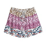 QinMM Frauen Sexy Hot Pants Sommer Casual Shorts Hohe Taille Kurzen Hosen Casual Workout Gym Fitness Athletische Hosen Lauf Multicolor Orange Lila Grün S-XL (M, Lila)