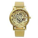 Herren Mechanische Uhren mit Gravur Geschenke, Klassisches Skelett Mesh Edelstahl Armbanduhr, Business Casual Mechanik Uhr mit Milanese Armband, Gold