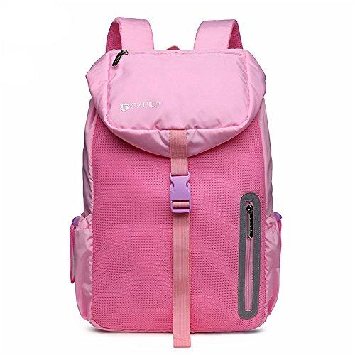 er Reisen Rucksack Outdoor Wandern beiläufige wasserdichte Nylon Laptop Daypack Commerce Geschäftsreise (Farbe: schwarz) für alle Jahreszeiten (Farbe : Rosa) ()