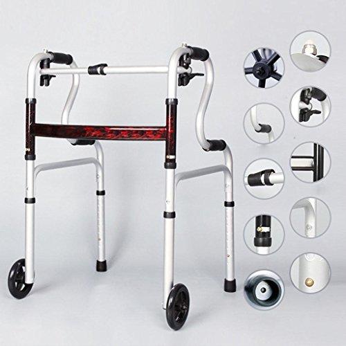 Viaggio pieghevole vecchio uomo stampelle leggera pieghevole Trave altezza regolabile leggero in lega di alluminio Walker Walker bloccaggio ruote piroettanti